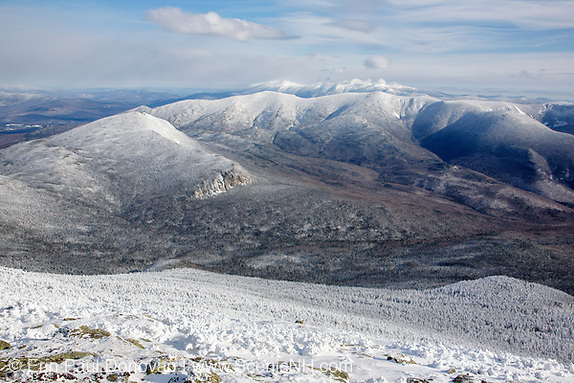 Pemigewasset Wilderness from Mount Lafayette in the White Mountains of New Hampshire during the winter months. Mount Garfield is above the cliffs. And the foreground was logged during the East Branch & Lincoln Logging Railroad era (1893-1948).
