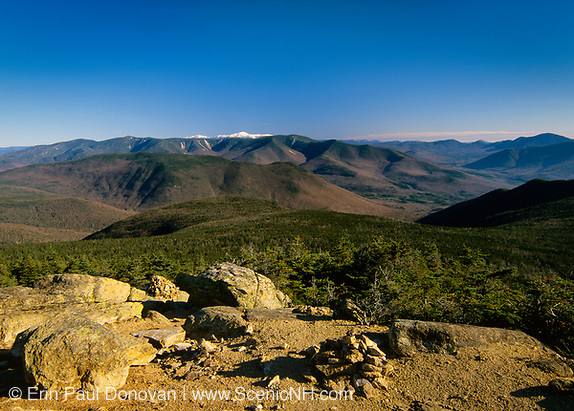 Scenic views of Mount Washington (snow-capped) from Mount Liberty in the White Mountains, New Hampshire.
